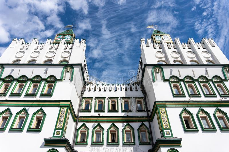 Facade Old Russian architecture of Izmaylovsky Kremlin in Moscow. Russia stock images
