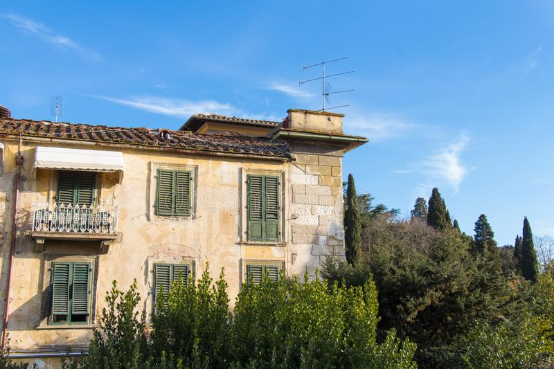Facade of an old typical Italian building, Fiesole, Italy royalty free stock images