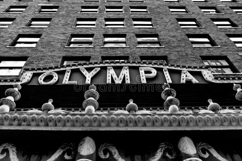 Facade of the Olympia Theater in Downtown Miami stock images