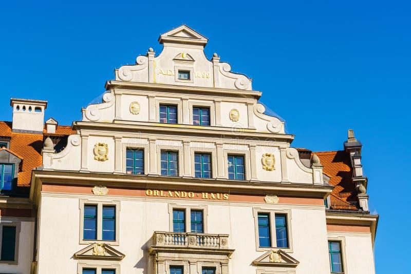 Facade of Orlando house, Munich, Bavaria stock image