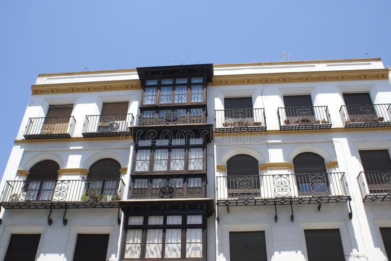 Facade. Outdoor view of a facade with window balconies in Spain royalty free stock photo