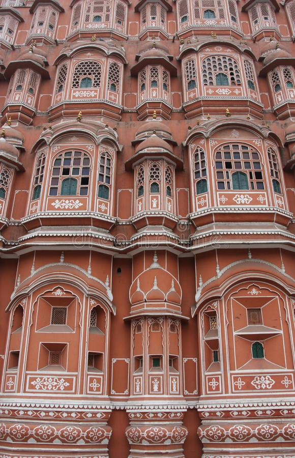 The facade of the Palace of the Winds. Or Hawa Mahal in the city of Jaipur, India stock images