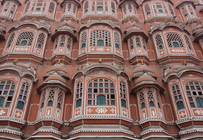 The facade of the Palace of the Winds. Or Hawa Mahal in the city of Jaipur, India royalty free stock images