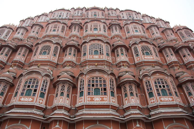 The facade of the Palace of the Winds. Or Hawa Mahal in the city of Jaipur, India stock photos