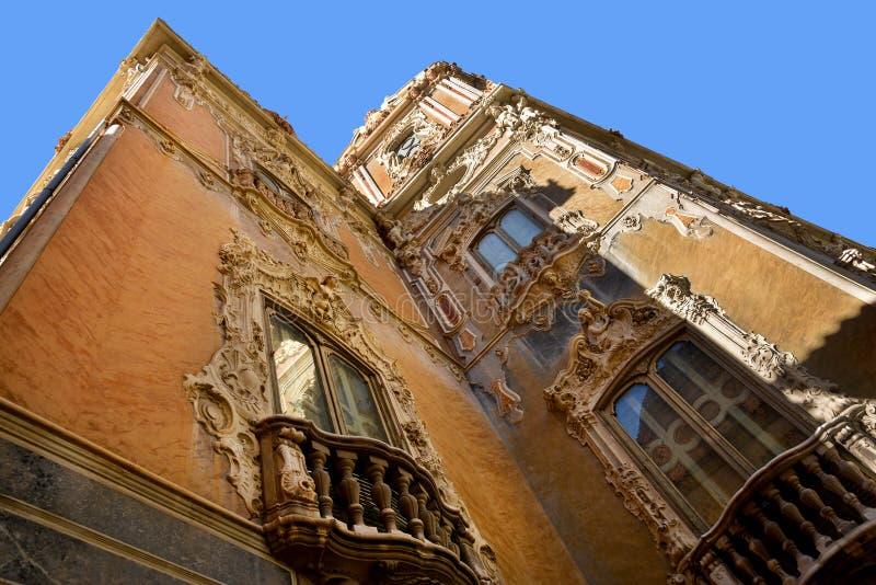 Facade of Palacio del Marques de Dos Aguas, Valencia royalty free stock photography