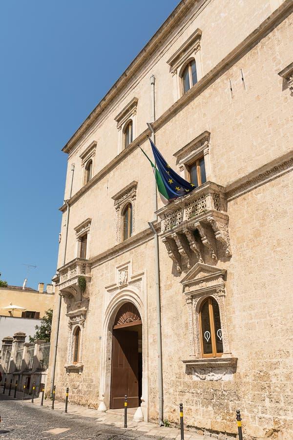 Facade of the Palazzo Nervegna di Brindisi Italy. The Facade of the Palazzo Nervegna di Brindisi Italy stock photo
