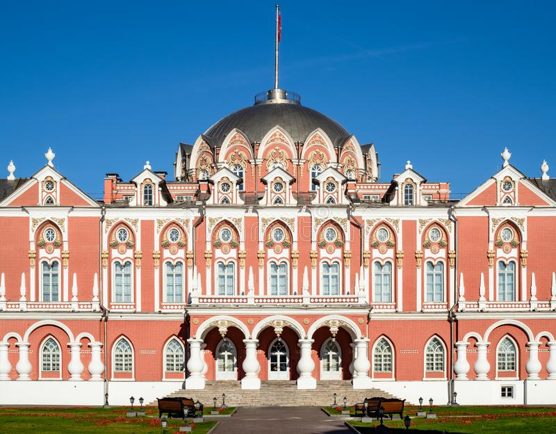 Facade of Petrovsky Traveling Palace in Moscow. Facade of Petrovsky Traveling (Driveway) Palace on the Tver Road (Leningrad Prospect) in Moscow city in sunny royalty free stock photo