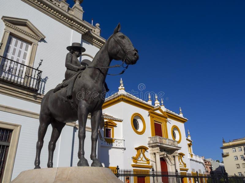 Facade of plaza de toros in Seville royalty free stock photography