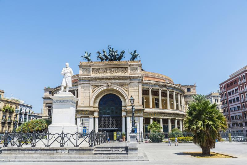 The Politeama Theatre in Palermo in Sicily, Italy. Facade of the Politeama Garibaldi Theatre with the statue of Ruggero Settimo in the center of Palermo in royalty free stock photography