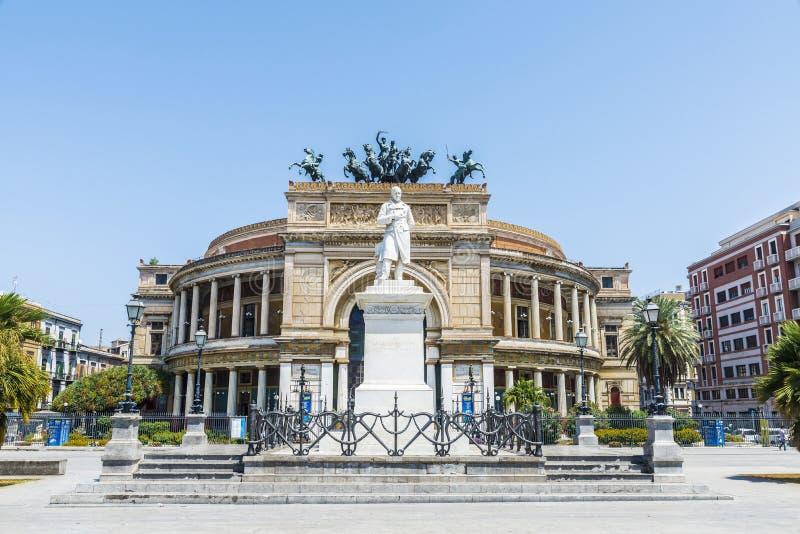 The Politeama Theatre in Palermo in Sicily, Italy. Facade of the Politeama Garibaldi Theatre with the statue of Ruggero Settimo in the center of Palermo in royalty free stock photo