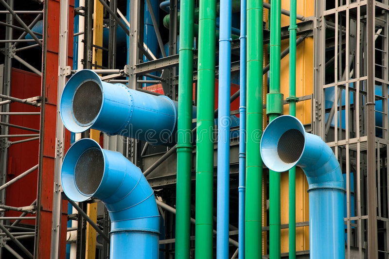 The facade of the Pompidou museum stock photos