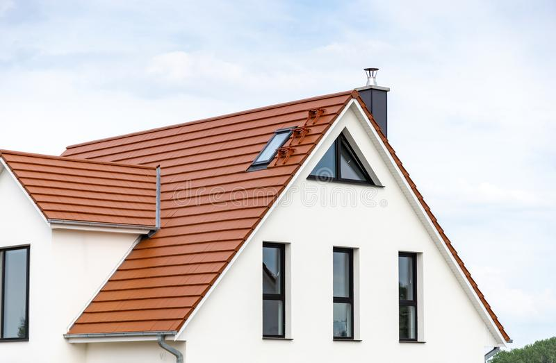 Facade and roof of new built house royalty free stock photos