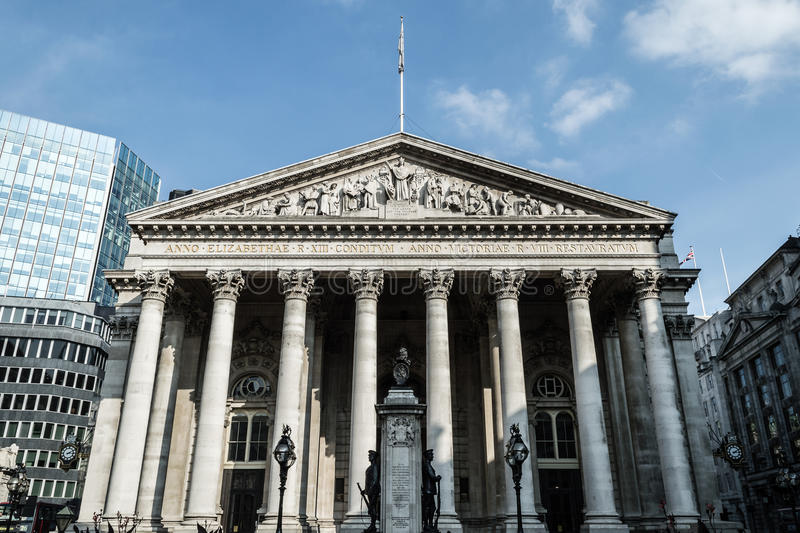 Facade of The Royal Exchange, Bank. LONDON - 04 OCT 2015: Facade of The Royal Exchange, Bank royalty free stock images