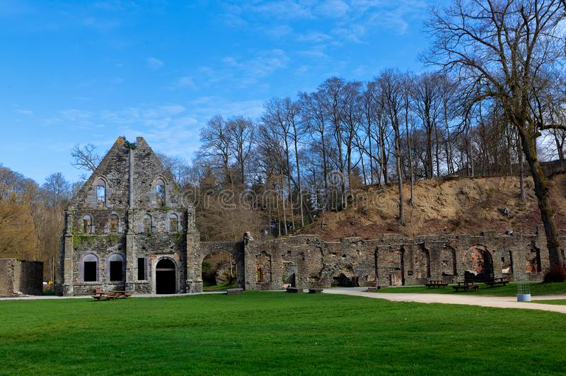 Facade ruin houses Abbey of Villers la Ville, Belgium stock photography