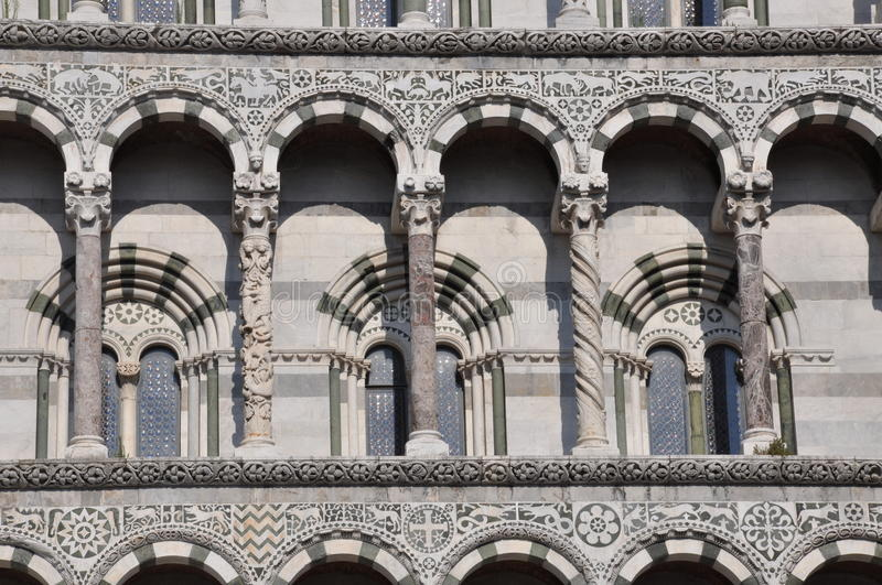 The facade of the San Michele in Foro in Lucca stock photos