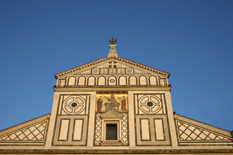 Facade of San miniato al monte stock photos