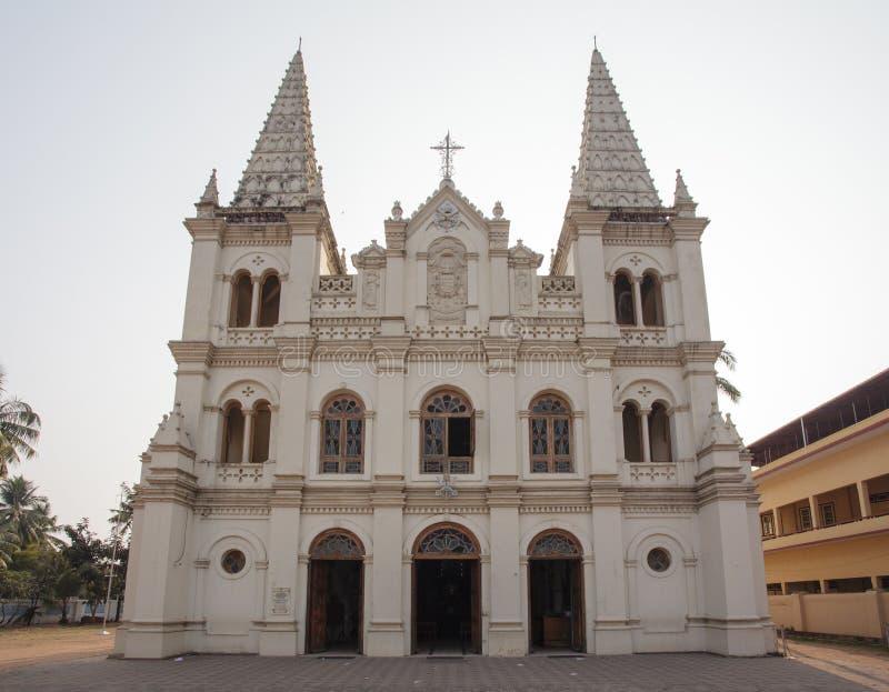 Facade of the Santa Cruz Basilica church in Fort Kochin, South India. Facade of the Santa Cruz Basilica church in Fort Kochin in Kochin - South India stock image