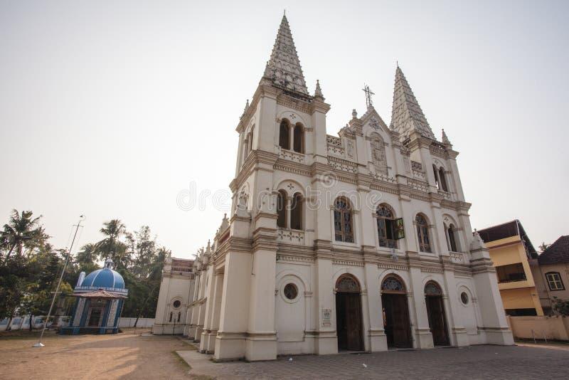 Facade of the Santa Cruz Basilica church in Fort Kochin, South India. Facade of the Santa Cruz Basilica church in Fort Kochin in Kochin - South India stock photo