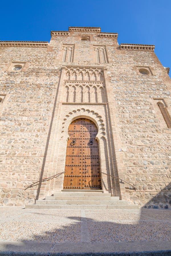 Facade of Santiago Arrabal church in Toledo city stock photos