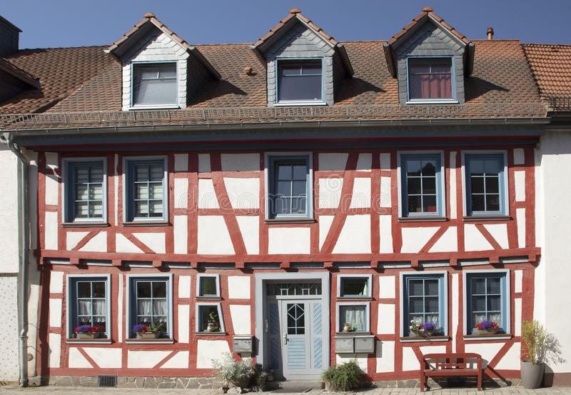 Facade of scenic generic half timbered house in Idstein. Germany royalty free stock image