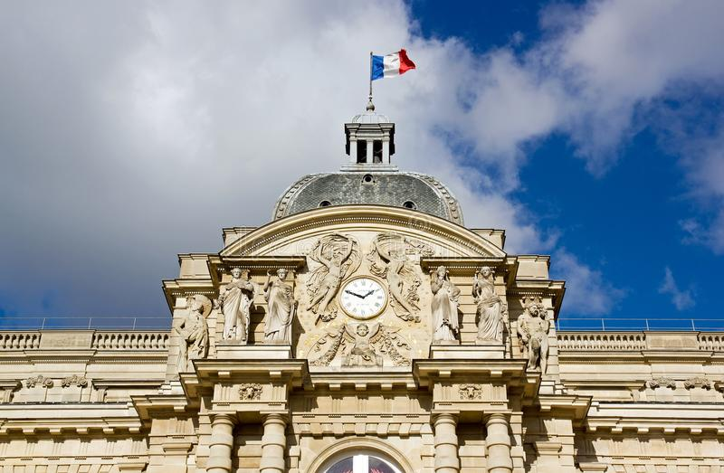 Facade of the Senate. Royal Lepautre clock 18 th Paris France stock images