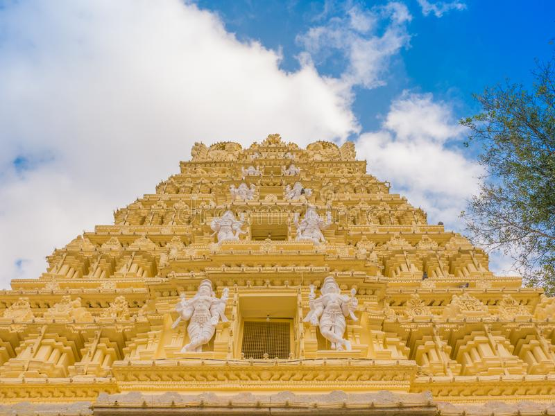 Facade of Shri Chamundeshwari Temple in Mysore, India.  stock photo