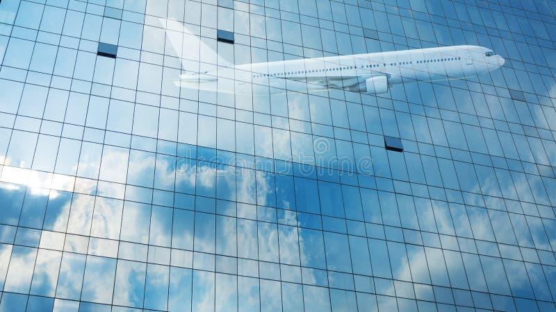 Facade skycraper building architecture and cloud on glassa. Facade skycraper building architecture and cloud on glass curtain wall for background stock photos