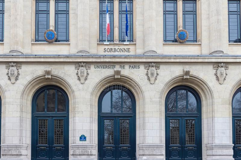 Facade of Sorbonne University with France and European Union flags, Paris, France. stock photos
