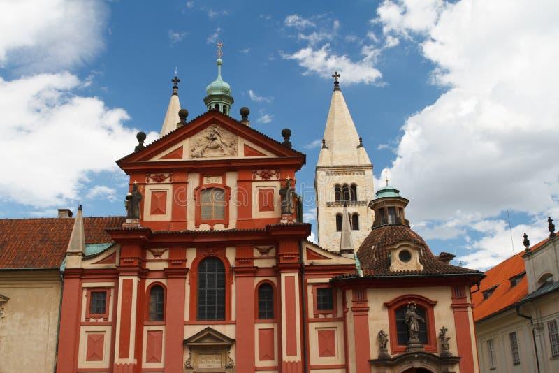 Facade of St. George`s Basilica Basilika sv. Jiri at Prague Ca. Stle, Czech Republic royalty free stock image