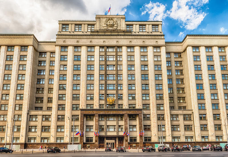 Facade of the State Duma, Parliament building of Russian Federation stock images