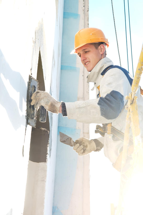 Download Facade Stopping And Surfacer Works Stock Image - Image of insulation, constructor: 16343653