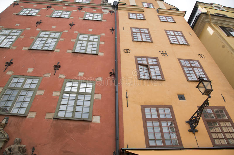 Facade in Stortorget Square; Old Town - Gamla Stan; Stockholm royalty free stock photography