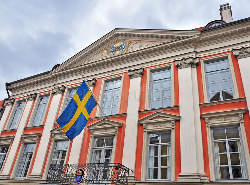 Facade of the Swedish consulate building stock photo