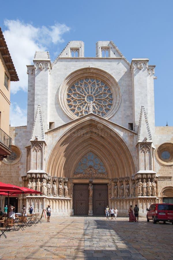 Facade of Tarragona cathedral stock image