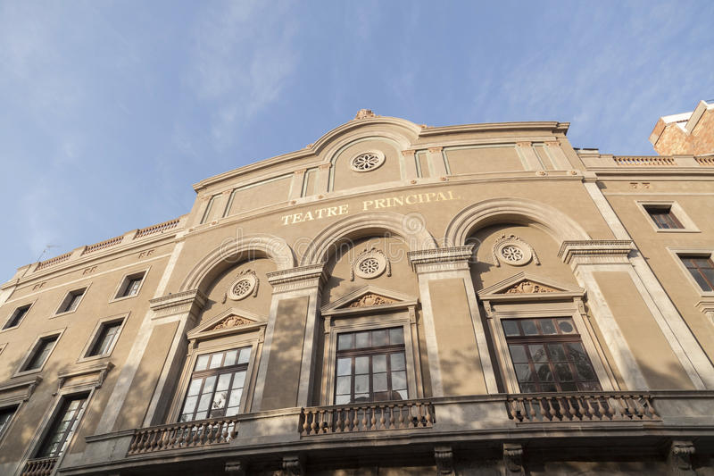 Facade of Theater,Teatre Principal, or Teatre de la Santa Creu. It is the oldest city theater, works from the sixteenth century. BARCELONA,SPAIN-SEPTEMBER 1 royalty free stock photos