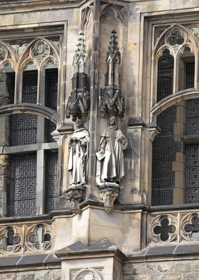 Facade of town hall at Aachen, Germany stock image
