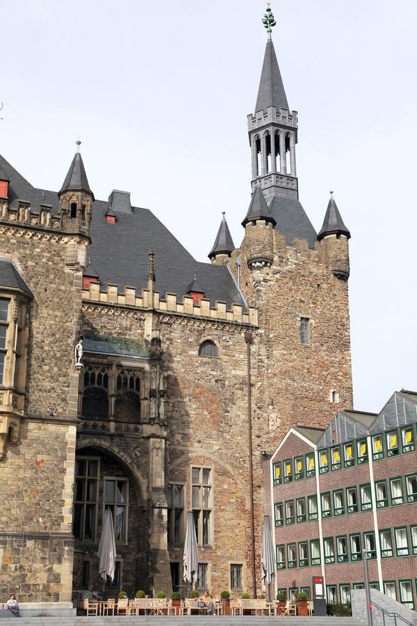 Facade of town hall at Aachen, Germany royalty free stock photo