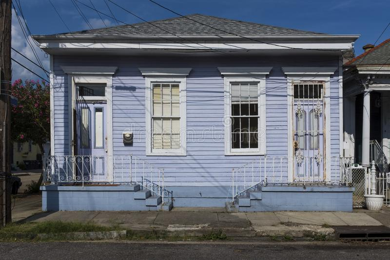 The facade of a traditional colorful house in the Marigny neighborhood in the city of New Orleans, Louisiana royalty free stock photos