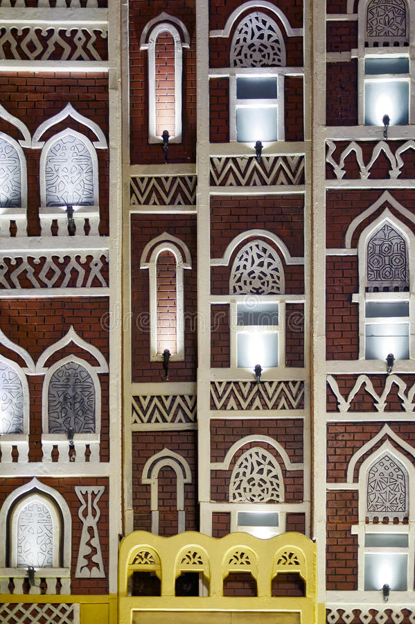 Facade of traditional Yemen architecture stock photography