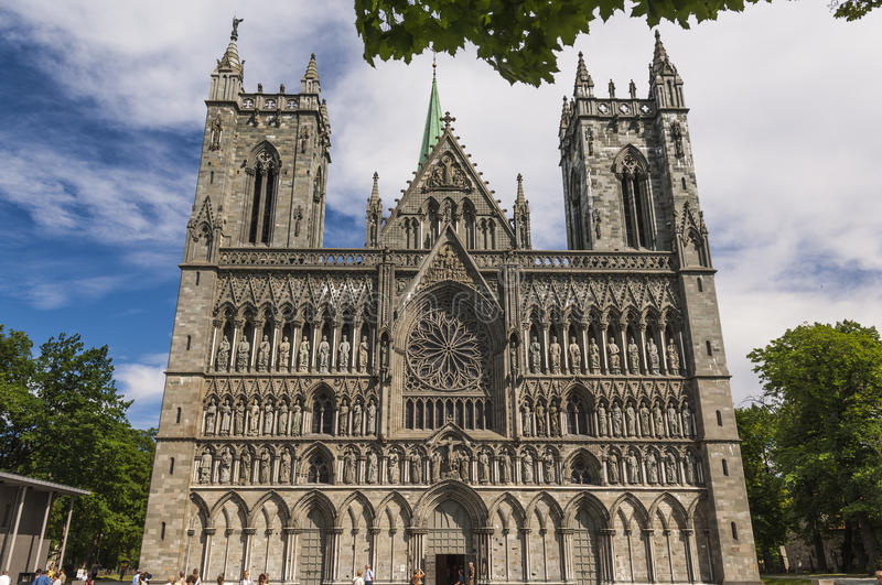 The Facade of Trondheim Cathedral. In Norway stock photos