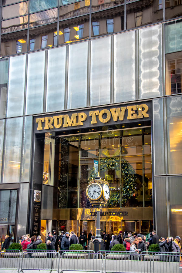 Facade of the Trump Tower, residence of president elect Donald Trump - New York, USA. New York, USA - December 09, 2016: Facade of the Trump Tower, residence of royalty free stock images