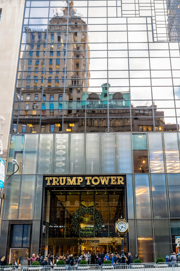 Facade of the Trump Tower, residence of president elect Donald Trump - New York, USA. New York, USA - December 09, 2016: Facade of the Trump Tower, residence of stock image