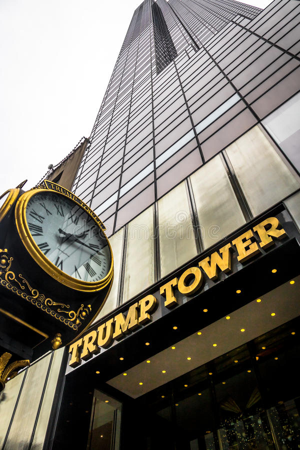 Facade of the Trump Tower, residence of president elect Donald Trump - New York, USA. New York, USA - December 10, 2016: Facade of the Trump Tower, residence of stock image