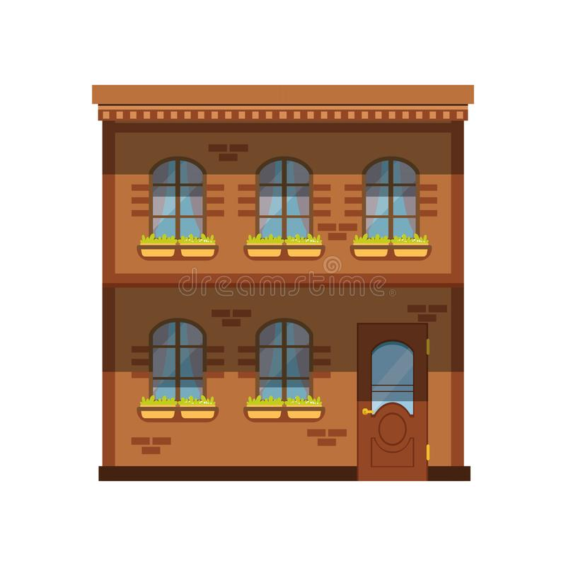 Facade of the two story building, city house vector Illustration stock illustration