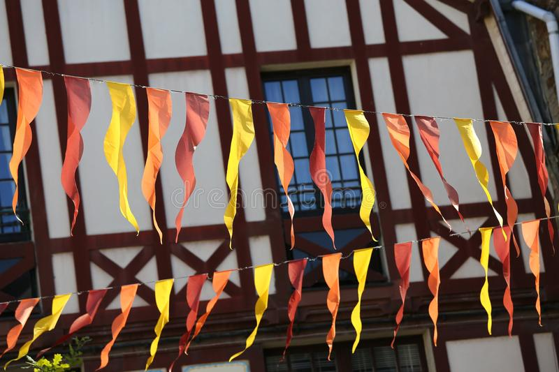 Facade of a typical brittany house with wooden beams and streamers at the forefront stock images
