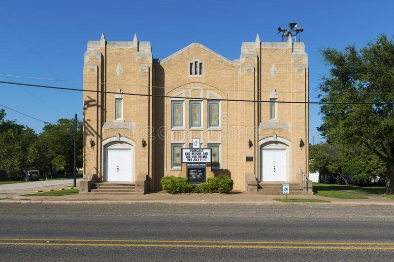 The facade of an United Methodist Church in a small rural town in the State of Texas. Texas, USA - June 11, 2014: The facade of an United Methodist Church in a stock image