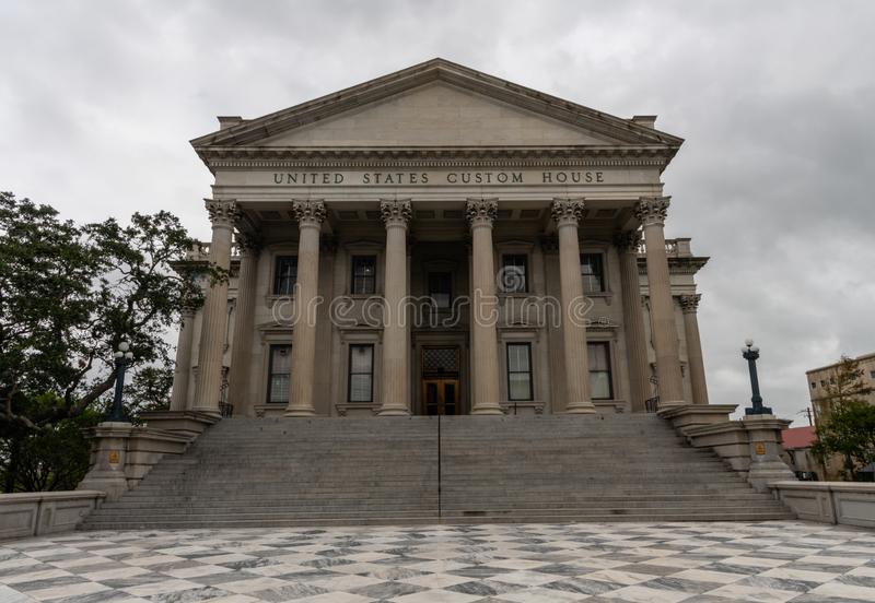 Facade of the United States Custom House building in Charleston, South Carolina. On a rainy day royalty free stock photo