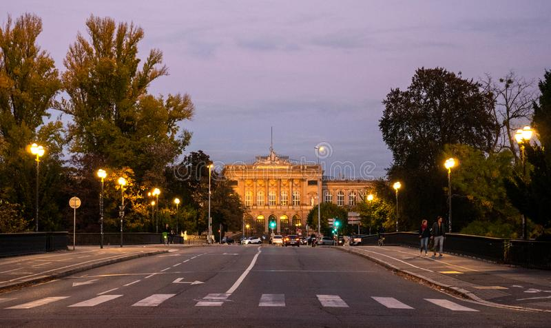 Facade of Universite populaire Europeenne in Strasbourg at dusk royalty free stock image