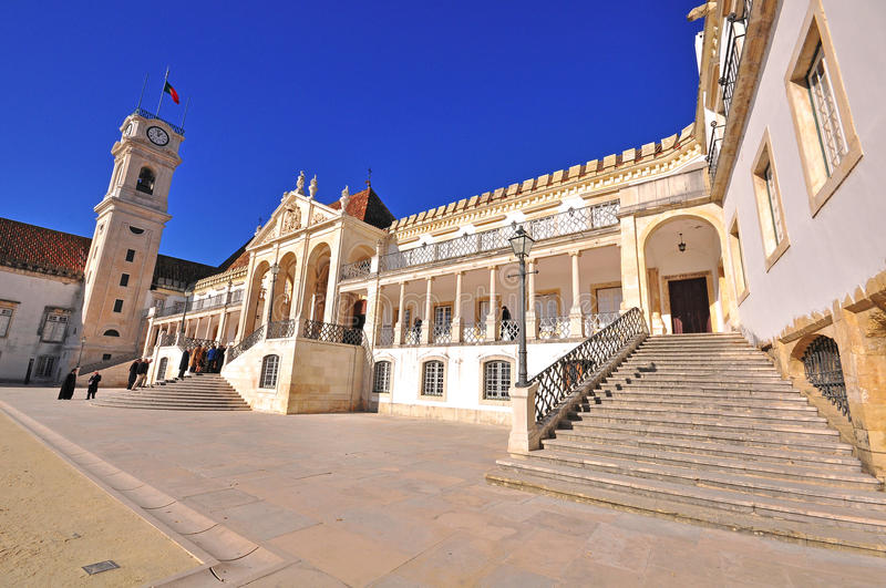 Facade of the University of Coimbra. Portugal stock images