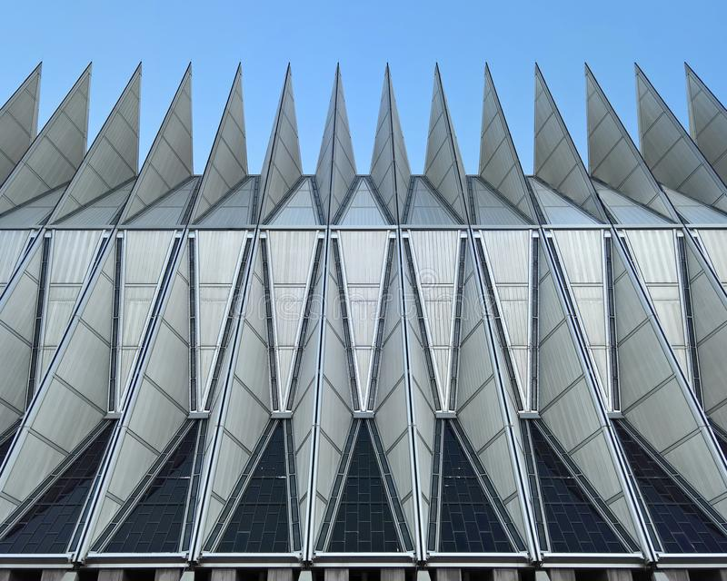 Facade of US Air Force Academy Chapel. COLORADO SPRINGS, CO - DECEMBER 13, 2015: United States Air Force Academy Cadet Chapel, east facade stock images